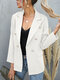 Solid Double Breasted Lapel Long Sleeve Women Blazer - White