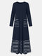 Striped Print Patchwork Long Sleeve Casual Maxi Plus Size Dress - Blue