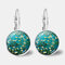 Vintage Geometric Round Oil Painting Series Earrings Metal Glass Gem Daisy Pendant Ear Clips - 1