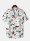 Mens Holiday Tropical Landscape Print Revere Collar Short Sleeve Shirts - Red