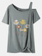 Calico Print Off Shoulder Short Sleeve Casual T-Shirt For Women - Green