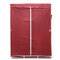 Large Canvas Fabric Wardrobe With Hanging Rail Clothes Shelves Storage Cupboard - Red