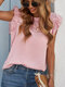 Lace Patchwork O-neck Ruffle Short Sleeve Solid Women Blouse - Pink