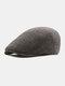 Men Plaid Pattern Adjustable Casual Flat Hat Forward Hat Beret Hat - Dark Gray