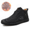 Men Hand Stiching Zipper Microfiber Leather Comfortable Outdoor Casual Shoes - Black Cotton Lining