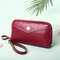 Women PU Leather 3 Card Slots 6.3 inch Phone Bag Money Clip Wallet - Wine Red