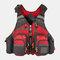 Men Polyester Fishing Vest Breathable Reflective Tactical Vest Multi-pocket Backpack - Red