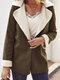 Women Solid Color Long Sleeve Lapel Collar Causal Coat - Khaki