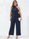 Solid Color Sleeveless Halter Plus Size Wide Leg Jumpsuits - Navy