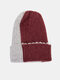 Unisex Knitted Color-match Irregular Patchwork All-match Warmth Beanie Hat - Wine Red+Gray