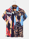 Mens Colorful Abstract Pattern Button Up  Short Sleeve Shirt With Pocket - Navy
