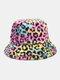 Women & Men Wool Soft Warm Casual All-match Cute Cow Pattern Bucket Hat - #05