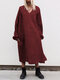 Solid Color V-neck Long Sleeve Pullover Midi Dress - Wine Red
