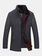 Mens Single Breasted Faux Fur Collar Thick Casual Woolen Overcoats - Gray