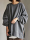 Solid Color Slit Long Sleeve Casual Blouse for Women - Gray