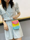 Casual Stylish Gradient Color Heart-shaped Flap Pyramid Pattern PVC Jelly Bag Clutch Shoulder Bag - #03