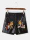 Women Vintage Leather Floral Embroidery Shorts - Black