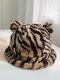 Women Faux Rabbit Fur Warm Soft Cute Casual All-match Animal Ear Pattern Bucket Hat - #04