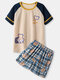 Wome Contrast Cartoon Bear Printed Crew Neck Cotton Pajamas Sets With Shorts - Apricot