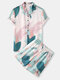 Mens Spring Abstract Leaf Print Revere Collar Short Sleeve Shirt & Shorts Cozy Two Piece Outfits - Beige