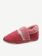 Women Solid Color Casual Plush Warm Home Cotton Shoes - Light Pink Webbing