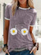 Daisy Floral Bike Letter Printed Short Sleeve Casual T-shirt - Purple