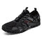 Men Knitted Fabric Camouflage Braethable Outdoor Hiking Shoes - Black