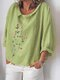 Flower Embroidery Turn-down Collar Long Sleeve Loose Blouse - Light Green
