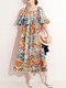 Multi-color Painted Print Square Collar Half Sleeve Loose Dress - Yellow