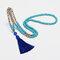 Bohemian Turquoise Handmade Beaded Necklace Ethnic Tassel Pendant Long Necklace - Blue