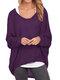Casual Asymmetrical Solid Color Plus Size Blouse for Women - Purple