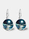 Trendy Metal Round Natural Landscape Print Glass Pendant Earrings - Silver