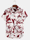 Mens Plant Leaf Print Button Up Holiday Short Sleeve Shirts - White