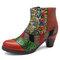 SOCOFY Botas retras bohemias de cuero de mosaico con botones y cremallera