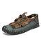 Men Closed Toe Mesh Splicing Outdoor Microfiber Leather Sandals - Green