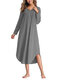 Asymmetrical Loose Long Sleeve Solid Color Dress - Grey