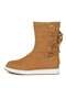 Women Back Cross Strap Lace-up Warm Casual Flat Mid-calf Boots - Brown