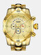 Large Dial Men Business Watch Multifunctional Luminous Calendar Waterproof Quartz Watch - Gold Dial Gold Band