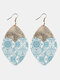 Vintage PU Leather Alloy Geometric-shape Patchwork Argyle Floral Printing Earrings - #02
