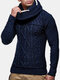 Mens Cable Knitted Solid Color Casual Drawstring Pullover Sweaters - Navy