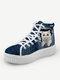 Women Cute Cat Print Denim Thick Sole High Top Lace Up Canvas Shoes - White