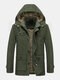 Mens 100% Cotton Fleece Lined Thicken Mid-Length Washed Winter Warm Hooded Parkas - Army Green