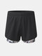 Mens Camo Patchwork Quick Dry Breathable Sports Board Shorts With Mesh Compression Liner - Green