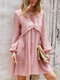 Solid Long Sleeve V-neck Knotted Fungus A-line Casual Dress - Pink