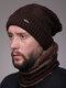 Uomo 2PCS Plus Velluto spesso inverno all'aperto Tenere in caldo Collo Protezione Copricapo Sciarpa Cappello lavorato a maglia Berretto - caffè