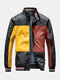 Mens Colorblock Patchwork PU Leather Zip Front Lapel Collar Thicken Jackets - Yellow
