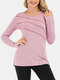 Solid Color O-neck Long Sleeve Casual Sports Blouse For Women - Pink