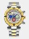 Multifunctional Men Business Watch Luminous Chronograph Calendar Quartz Watch - White Dial Between Gold Band
