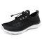 Men Breathable Mesh Fabric Lace-up Round Toe Casual Walking Shoes - Black