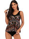 Plus Size Vintage Printed Cover Belly Tankinis Swimsuits For Women